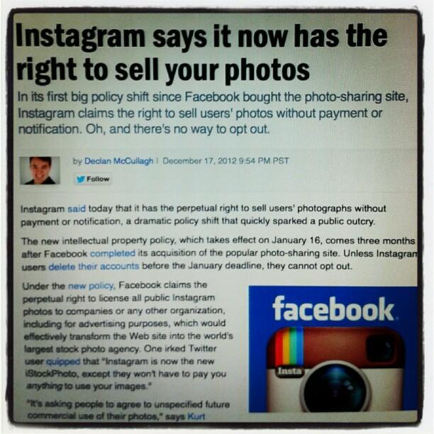 Instagram dice che ora ha il diritto di vendere le vostre foto #instasuicide #instafail